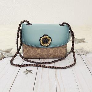 Coach Parker 18 Colorblock bag turquoise tea rose